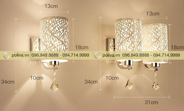 Kích thước của mẫu đèn ngủ gắn tường hình trụ dài