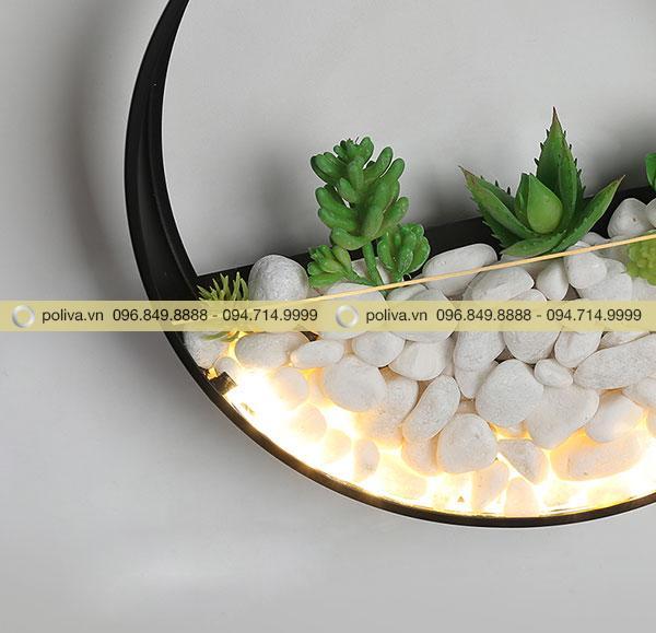 Trang trí cây lá cho đèn tạo hình nửa vầng trăng