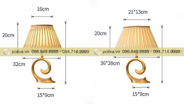 Kích thước đèn ngủ để bàn đèn chụp hình nón