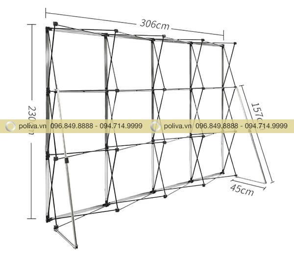 Kích thước của khung backdrop di động mạng nhện