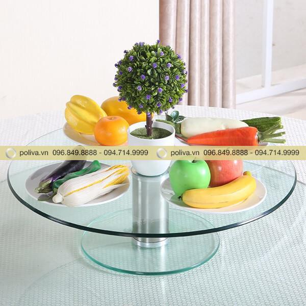 Trang trí bàn ăn phong phú, lịch sự hơn nhờ mâm kính xoay
