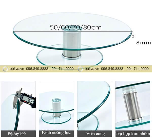 Đường kính và các bộ phận cấu tạo mặt kính xoay 2 tầng