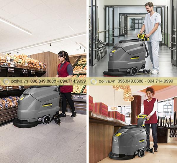 Máy chà sàn làm sạch sàn siêu thị, sàn trong nhà hàng, bệnh viện