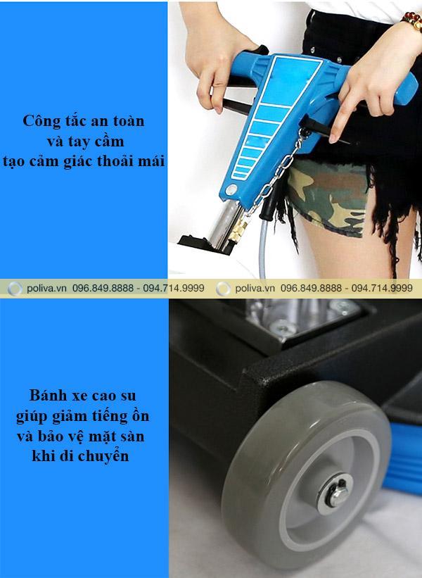 Bánh xe cao su giúp quá trình vận hành máy không gây tiếng ồn