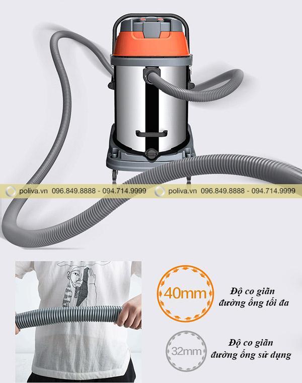 Độ co giãn của đường ống máy hút bụi tốt giúp công việc thực hiện nhanh hơn và đơn giản hơn