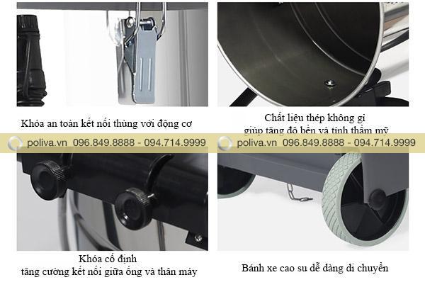 Bánh xe của máy hút bụi công nghiệp nhà xưởng làm bằng cao su dễ dàng di chuyển