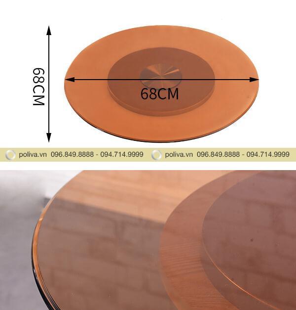 Kích thước và chất liệu của mâm xoay mặt kính bàn tiệc cao cấp