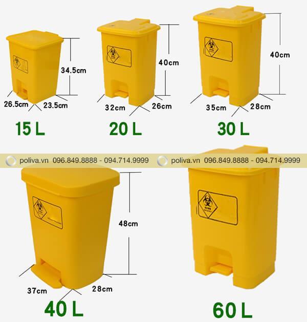 Thùng rác y tế có nhiều kích thước và dung tích khác nhau