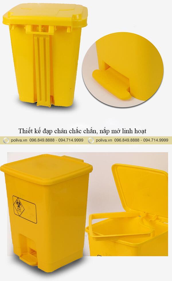 Thiết kế thùng rác đạp chân linh hoạt, nắp đóng mở nhanh chóng, kín đáo