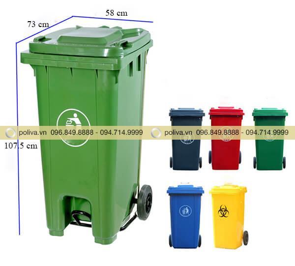 Thùng rác nhựa 120l có kích thước khá lớn, dạng ống dài có nắp đậy kín