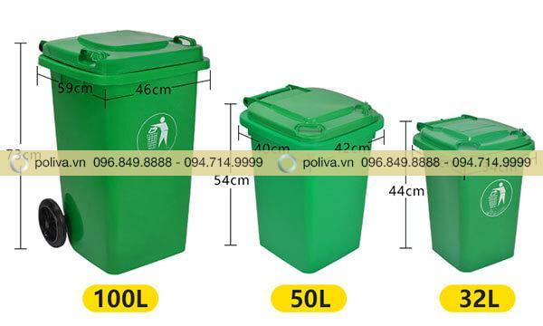 Kích thước và dung tích thùng rác phong phú