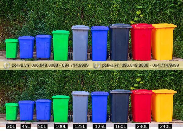 Thùng đựng rác nhựa đa dạng kích thước, phong phú màu sắc