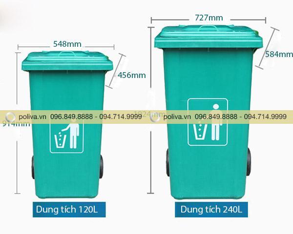 Chi tiết kích thước của thùng rác nhựa composite