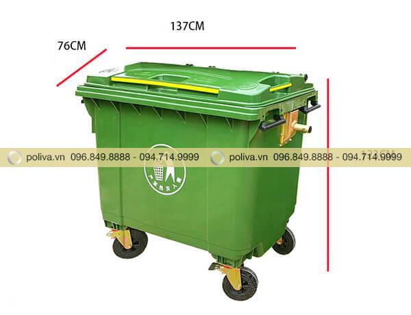 Thùng rác nhựa siêu bền 660l có kích thước lớn