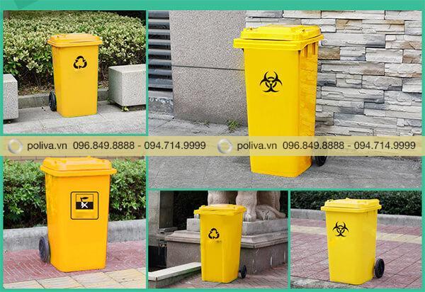 Thùng rác y tế thường đặt ở nhiều vị trí khác nhau