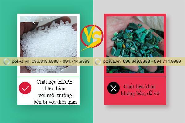Chất liệu nhựa HDPE cao cấp, bền bỉ, không bị hỏng hóc do hóa chất