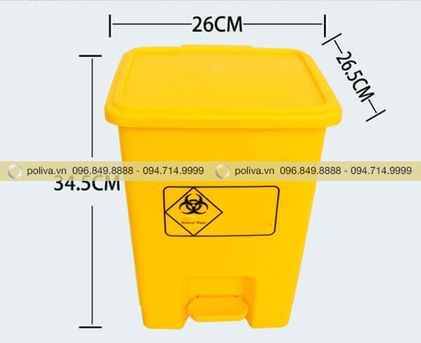 Kích thước thùng rác y tế 15l nhỏ gọn