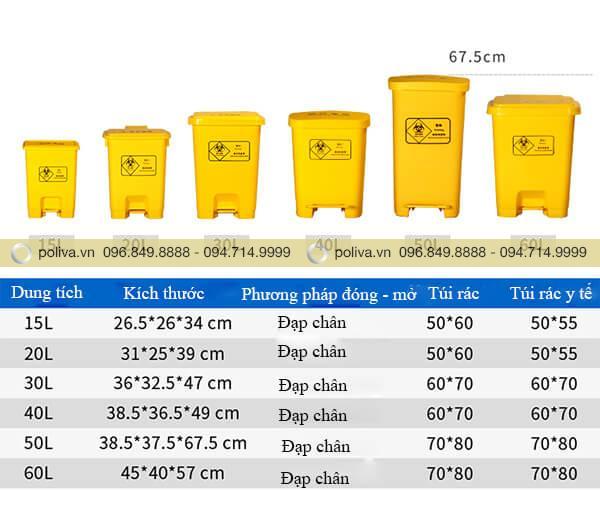Kích thước các loại thùng đựng rác thải y tế đa dạng
