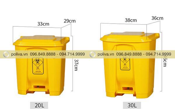 Kích thước thùng đựng rác thải y tế 20 lít