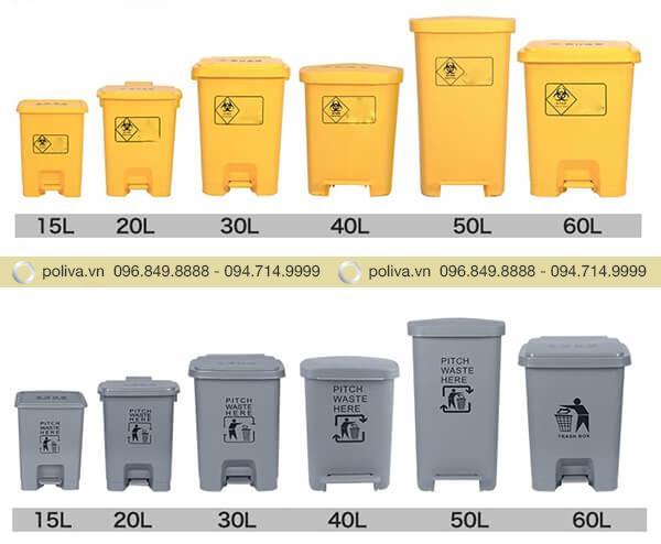 Dung tích thùng rác y tế màu vàng, màu xám