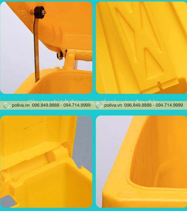 Mô tả các bộ phận của thùng rác nhựa màu vàng