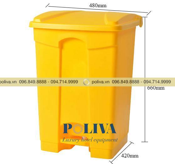 Kích thước thùng rác y tế màu vàng