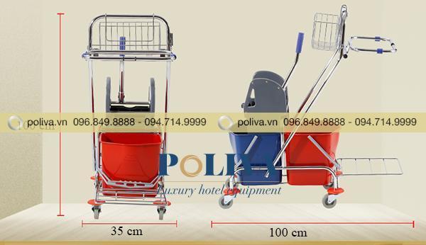 Kích thước xe đẩy làm vệ sinh dùng trong khách sạn