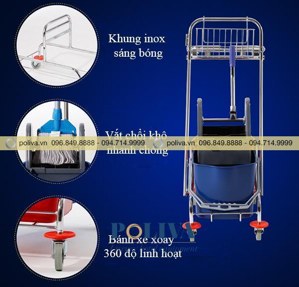 Những ưu điểm nổi bật của xe đẩy làm vệ sinh