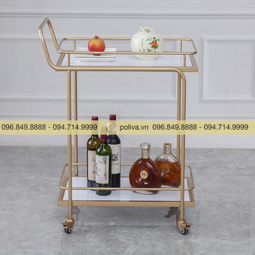 Xe đẩy rượu mạ vàng