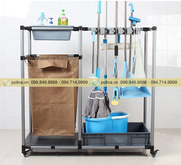 Xe dọn vệ sinh có ngăn treo túi đựng đồ hoặc đặt thùng rác