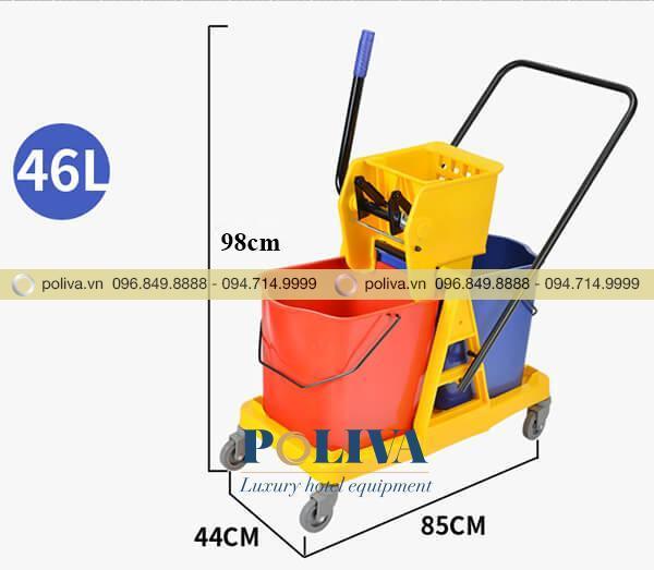 Kích thước xe vắt móp đôi 46L nhập khẩu
