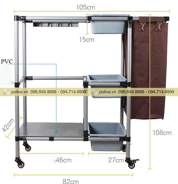Xe dọn phòng cao cấp có kích thước phù hợp, dễ dàng sử dụng
