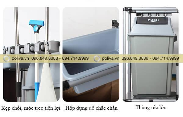 Xe vệ sinh buồng phòng nhập khẩu có cấu tạo gồm 3 phần chính