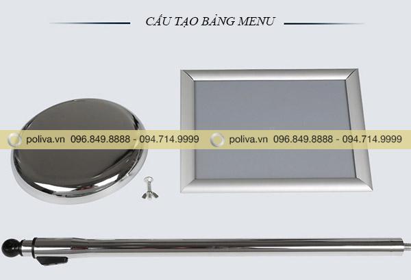 Hình ảnh bảng menu bằng inox trắng vàng