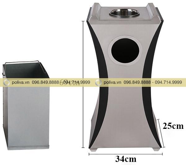 Thông tin chi tiết kích thước sản phẩmthùng rác inox gạt tàn