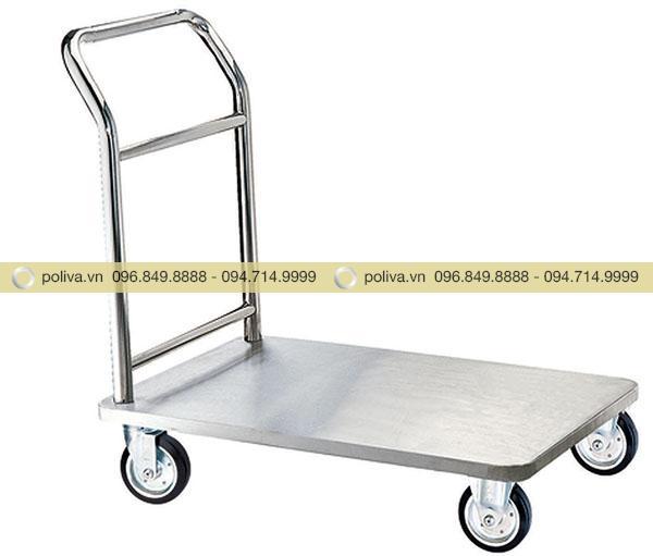 Hình ảnh thực tế xe đẩy hành lý inox màu trắng