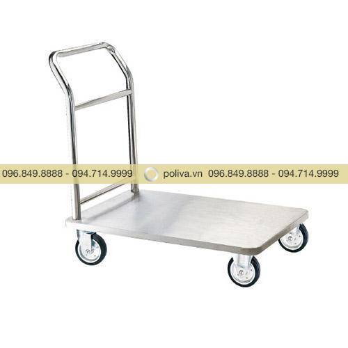 Xe đẩy hành lý Inox trắng