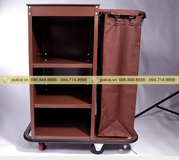 Xe trolley có màu nâu đẹp mắt, túi đựng dài chứa được nhiều đồ