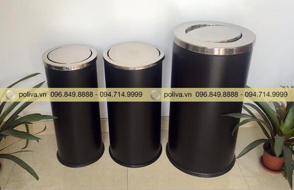 Hình ảnh thực tế của thùng rác nắp lật đại, trung, tiểu