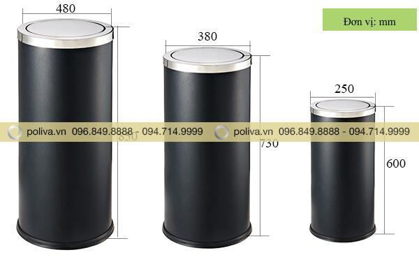 Các kích thước của thùng đựng rác nắp lật màu đen