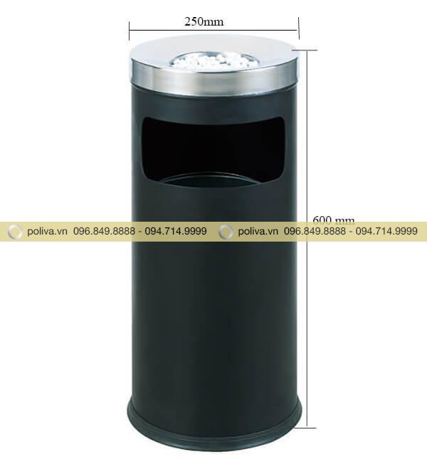 Thông số kích thước của thùng rác gạt tàn inox