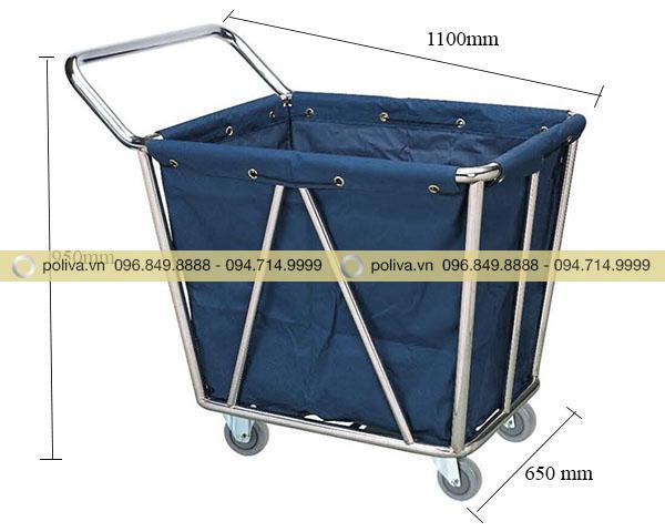 Kích thước xe chở đồ giặt là khung inox cao cấp