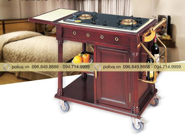 Xe đẩy phục vụ bàn có kích thước vừa phải, bánh xe lưu động tiện lợi