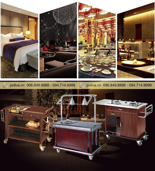 Xe đẩy phục vụ bàn thường được dùng trong các khách sạn, resort
