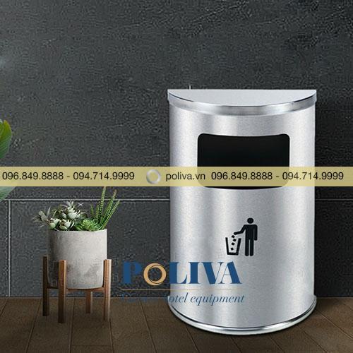 Thùng rác inox bán nguyệt