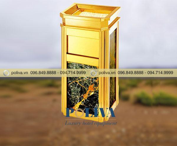 Hình ảnh thùng rác inox ốp đá hoa cương