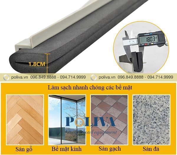 Lưỡi gạt bằng xốp cao su, thích hợp với mọi bề mặt chất liệu
