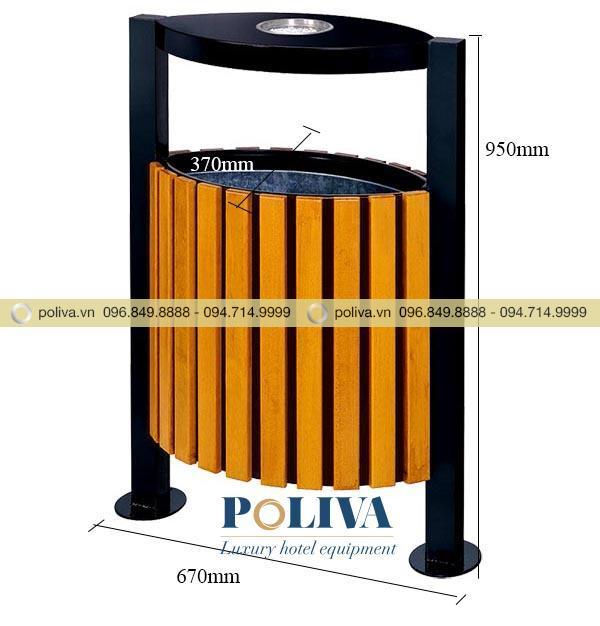 Kích thước thùng rác gỗ kết hợp thép phun sơn cao cấp