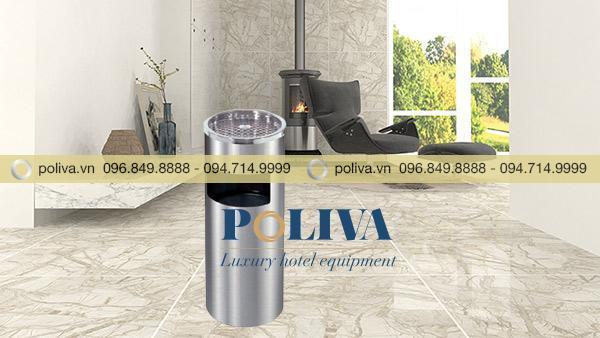 Mẫu thùng rác Inox làm tăng sự sang trọng cho không gian