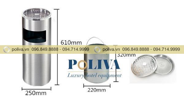 Thông số kích thước thùng rác Inox tròn
